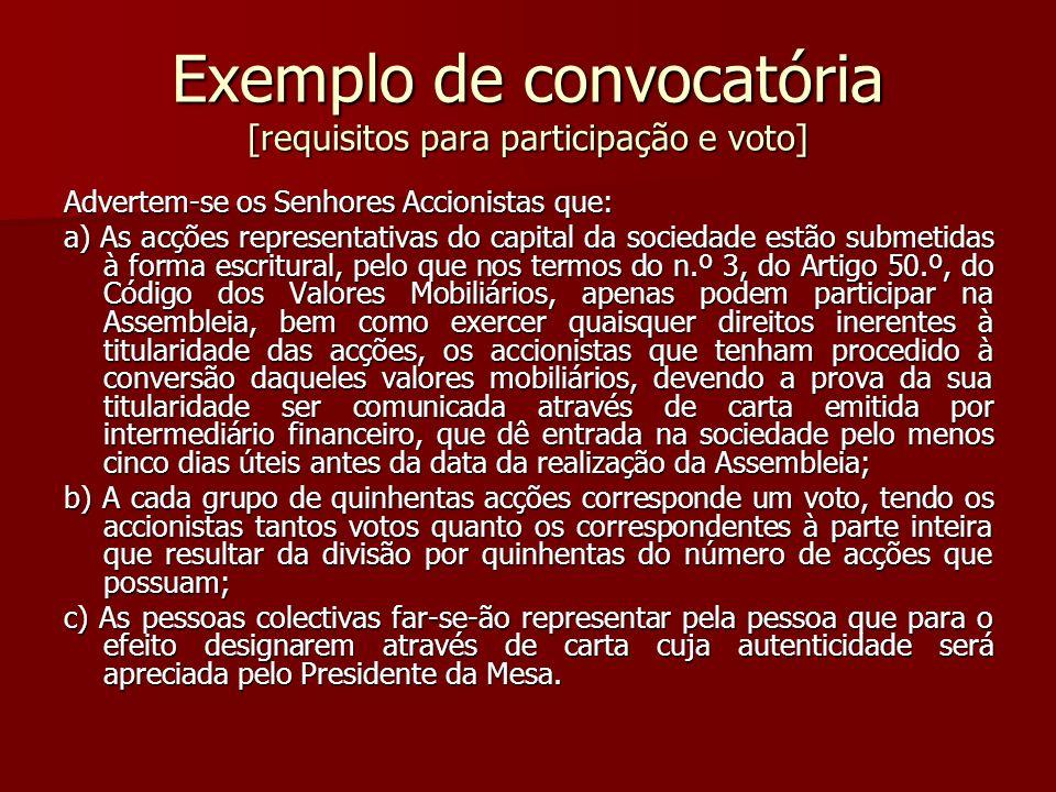 Exemplo de convocatória [requisitos para participação e voto]